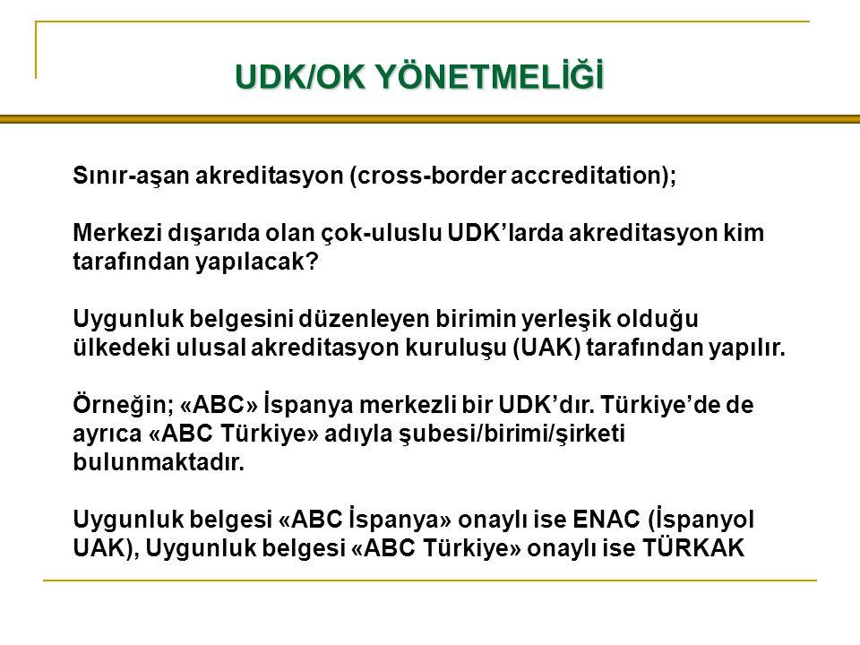 UDK/OK YÖNETMELİĞİ Sınır-aşan akreditasyon (cross-border accreditation); Merkezi dışarıda olan çok-uluslu UDK'larda akreditasyon kim tarafından yapıla