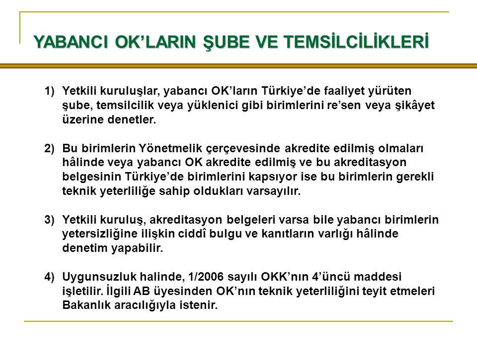YABANCI OK'LARIN ŞUBE VE TEMSİLCİLİKLERİ 1)Yetkili kuruluşlar, yabancı OK'ların Türkiye'de faaliyet yürüten şube, temsilcilik veya yüklenici gibi biri