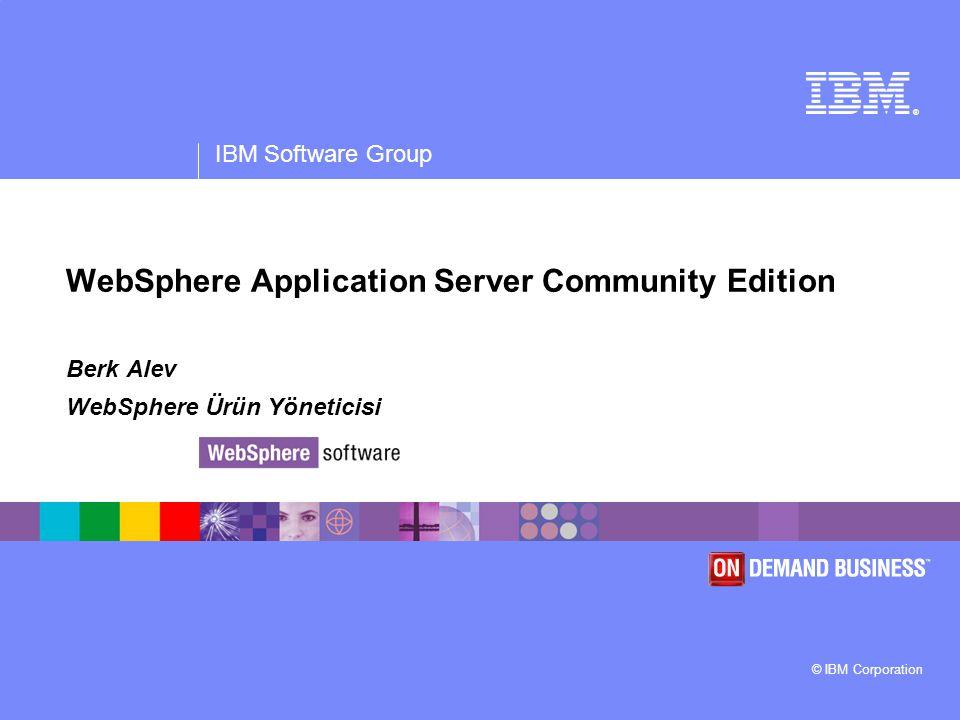 IBM Software Group | WebSphere software 22 3 örnek 1.WAS CE: eşi benzeri yok 2.DB2 CE: en güvenilir DB artık ücretsiz 3.Symphony: Neden ofis ürünlerine para verelim.