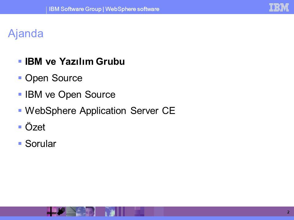IBM Software Group | WebSphere software 3 IBM Ürün Ailesi Lotus Tivoli WebSphere DB2 Rational IT Yapısının Yönetimi Yazılım Geliştirme Bilgi Yönetimi İletişim Entegrasyon