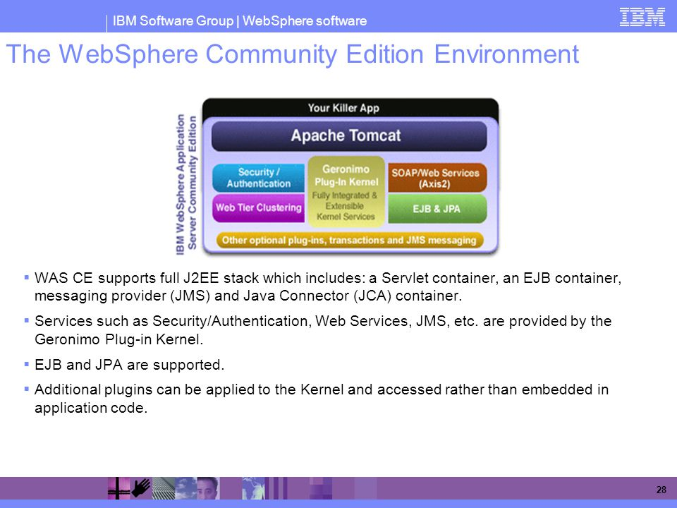 IBM Software Group | WebSphere software 28 The WebSphere Community Edition Environment  WAS CE supports full J2EE stack which includes: a Servlet con