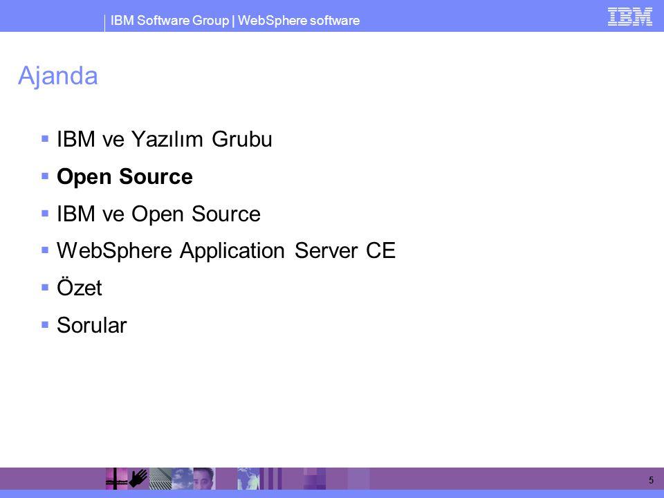 IBM Software Group | WebSphere software 16 Open Source ve Marka Ürünler 2% Öncelik Open Source'da 25% Karışık, Open Source ağır basıyor 35% Karışık, Marka daha ağır 38% Öncelik Marka Ürünlerde Source: InformationWeek, November 2004