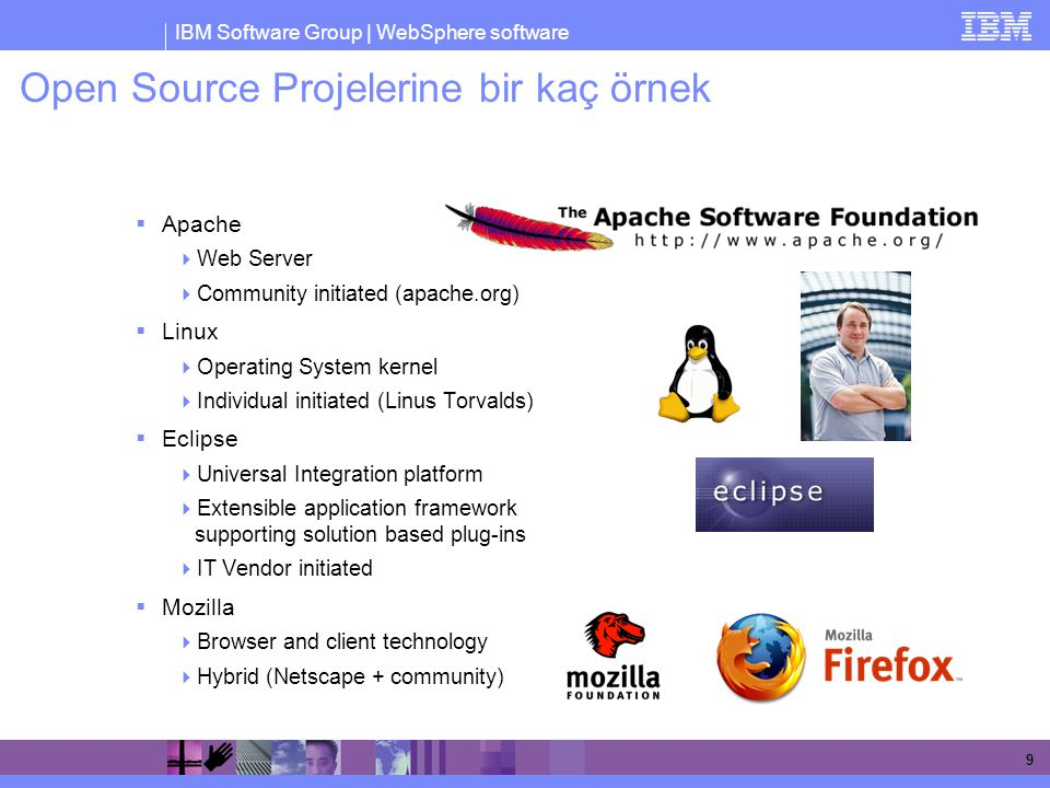 IBM Software Group | WebSphere software 9 Open Source Projelerine bir kaç örnek  Apache  Web Server  Community initiated (apache.org)  Linux  Ope