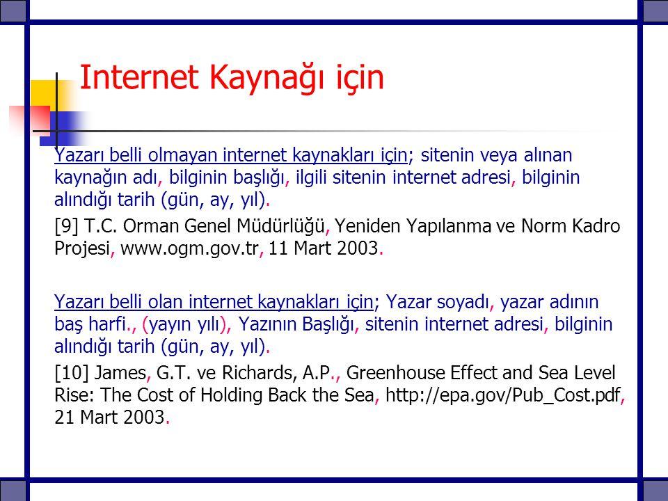 Internet Kaynağı için Yazarı belli olmayan internet kaynakları için; sitenin veya alınan kaynağın adı, bilginin başlığı, ilgili sitenin internet adres