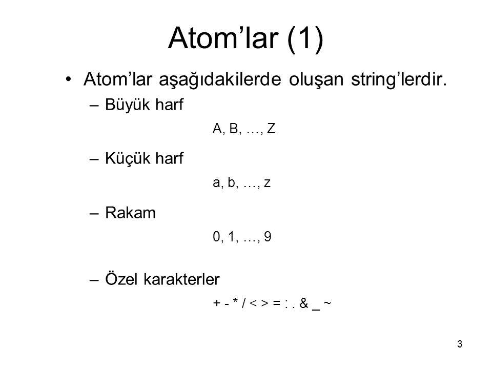 3 Atom'lar (1) Atom'lar aşağıdakilerde oluşan string'lerdir. –Büyük harf A, B, …, Z –Küçük harf a, b, …, z –Rakam 0, 1, …, 9 –Özel karakterler + - * /