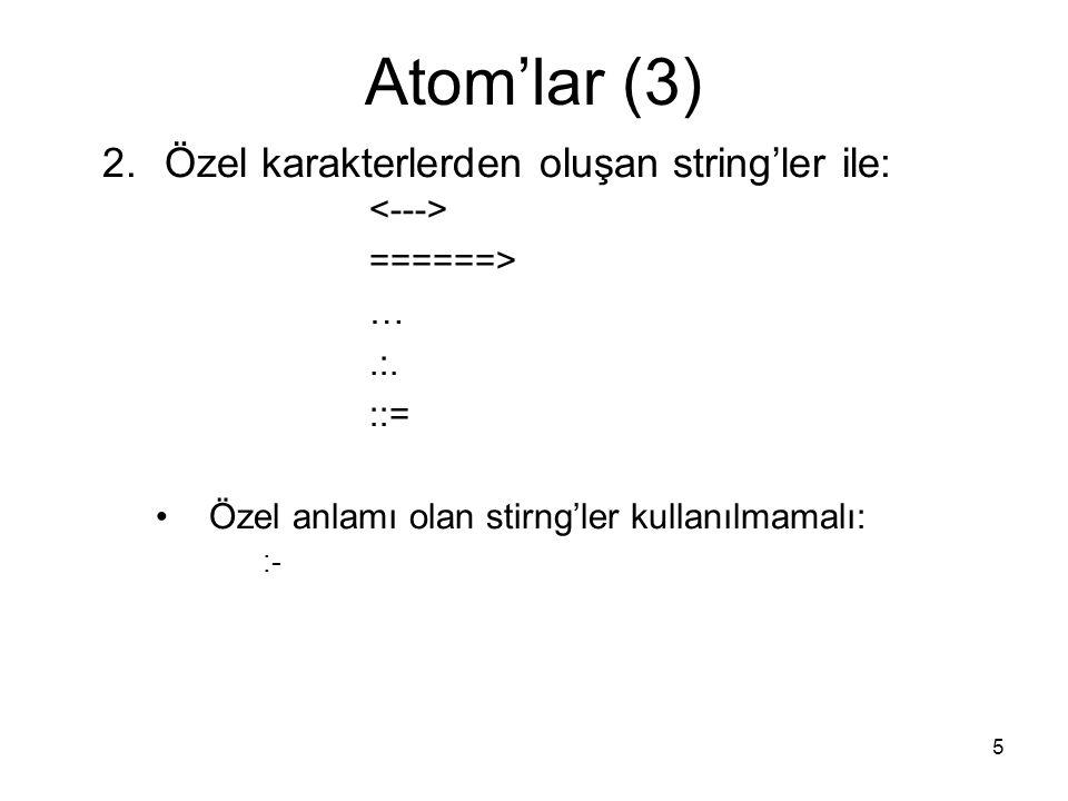 5 Atom'lar (3) 2.Özel karakterlerden oluşan string'ler ile: ======> ….:. ::= Özel anlamı olan stirng'ler kullanılmamalı: :-