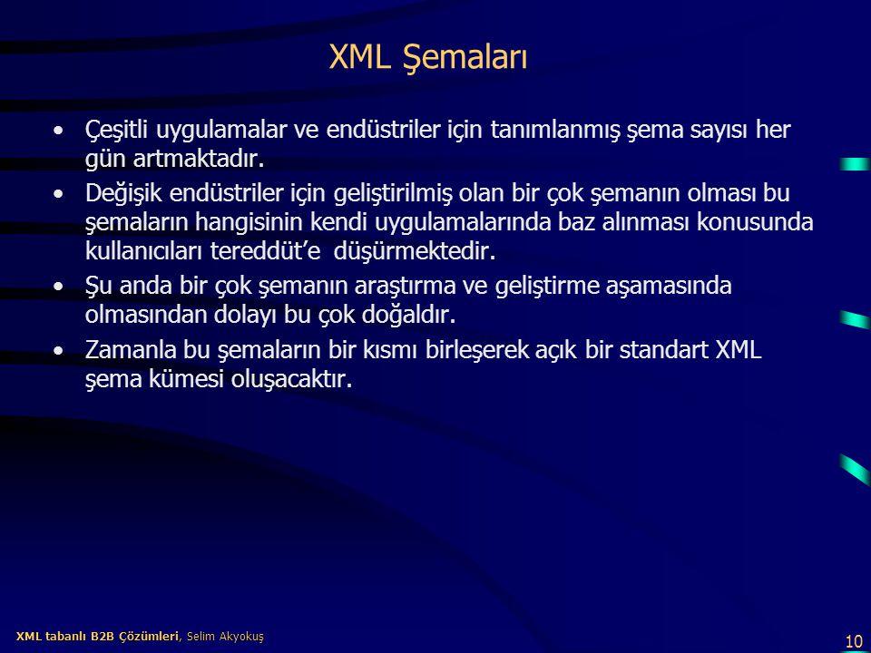 10 XML tabanlı B2B Çözümleri, Selim Akyokuş XML tabanlı B2B Çözümleri, Selim Akyokuş XML Şemaları Çeşitli uygulamalar ve endüstriler için tanımlanmış
