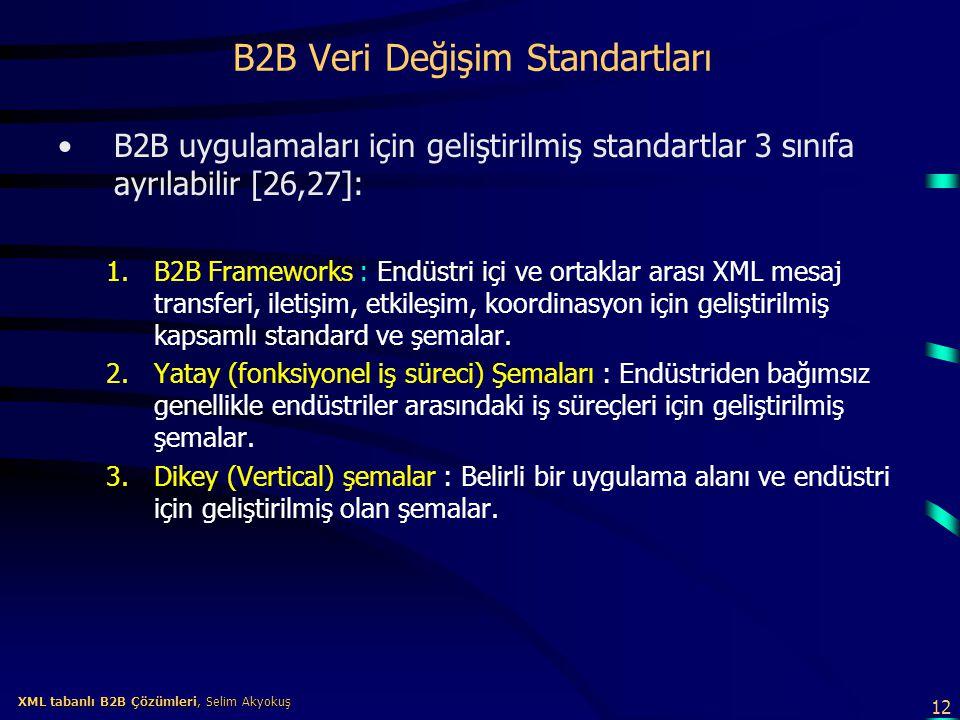 12 XML tabanlı B2B Çözümleri, Selim Akyokuş XML tabanlı B2B Çözümleri, Selim Akyokuş B2B Veri Değişim Standartları B2B uygulamaları için geliştirilmiş