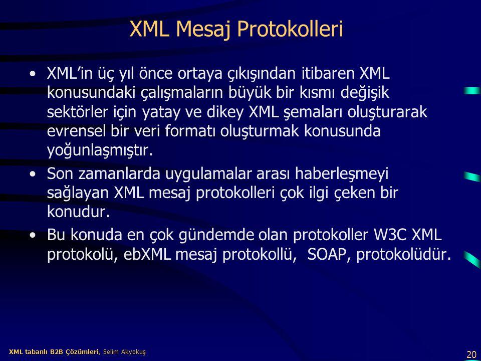 20 XML tabanlı B2B Çözümleri, Selim Akyokuş XML tabanlı B2B Çözümleri, Selim Akyokuş XML Mesaj Protokolleri XML'in üç yıl önce ortaya çıkışından itiba