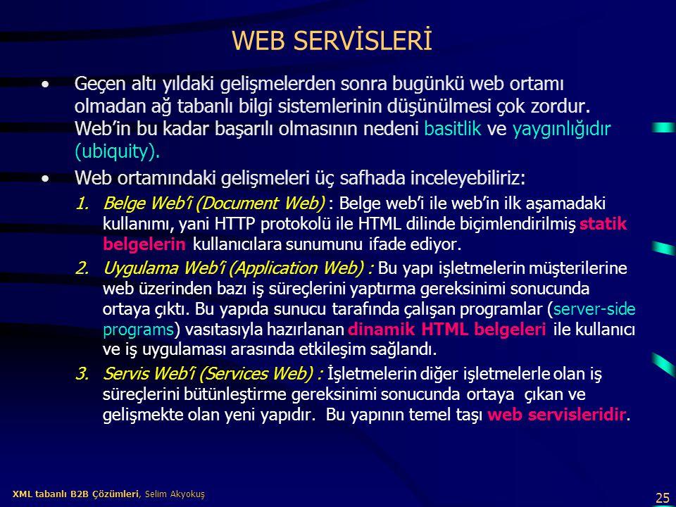 25 XML tabanlı B2B Çözümleri, Selim Akyokuş XML tabanlı B2B Çözümleri, Selim Akyokuş WEB SERVİSLERİ Geçen altı yıldaki gelişmelerden sonra bugünkü web