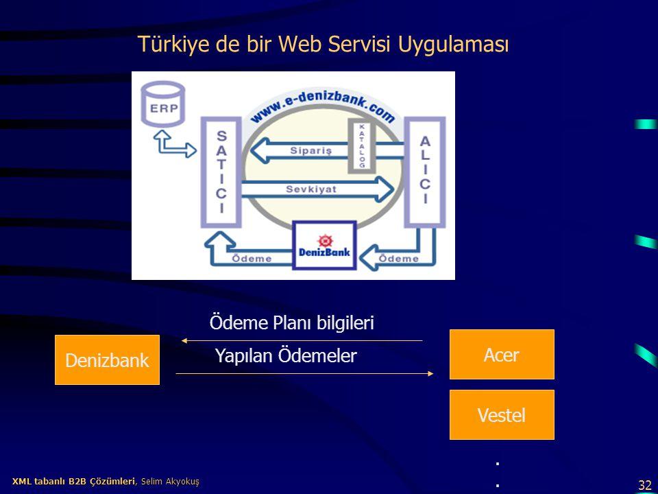 32 XML tabanlı B2B Çözümleri, Selim Akyokuş XML tabanlı B2B Çözümleri, Selim Akyokuş Türkiye de bir Web Servisi Uygulaması Denizbank Acer Vestel Ödeme