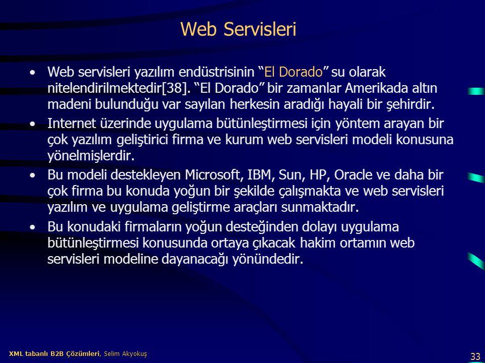 """33 XML tabanlı B2B Çözümleri, Selim Akyokuş XML tabanlı B2B Çözümleri, Selim Akyokuş Web Servisleri Web servisleri yazılım endüstrisinin """"El Dorado"""" s"""