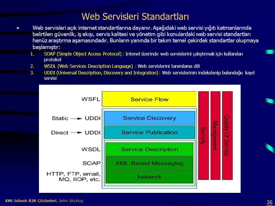 36 XML tabanlı B2B Çözümleri, Selim Akyokuş XML tabanlı B2B Çözümleri, Selim Akyokuş Web Servisleri Standartları Web servisleri açık internet standart