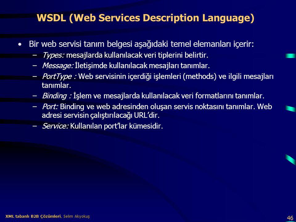 46 XML tabanlı B2B Çözümleri, Selim Akyokuş XML tabanlı B2B Çözümleri, Selim Akyokuş WSDL (Web Services Description Language) Bir web servisi tanım be