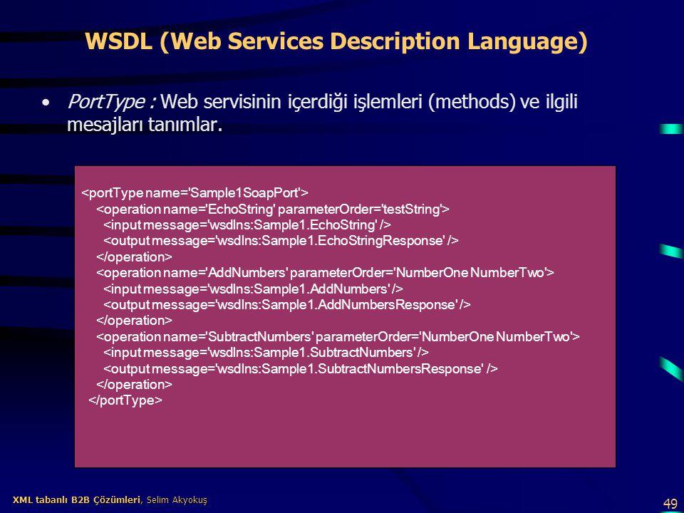 49 XML tabanlı B2B Çözümleri, Selim Akyokuş XML tabanlı B2B Çözümleri, Selim Akyokuş WSDL (Web Services Description Language) PortType : Web servisini
