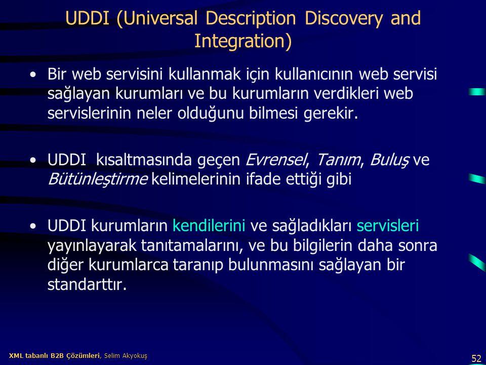 52 XML tabanlı B2B Çözümleri, Selim Akyokuş XML tabanlı B2B Çözümleri, Selim Akyokuş UDDI (Universal Description Discovery and Integration) Bir web se