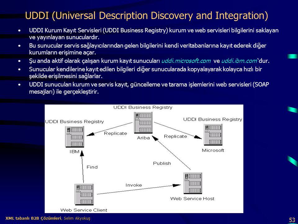 53 XML tabanlı B2B Çözümleri, Selim Akyokuş XML tabanlı B2B Çözümleri, Selim Akyokuş UDDI (Universal Description Discovery and Integration) UDDI Kurum