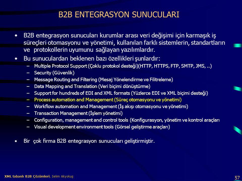 57 XML tabanlı B2B Çözümleri, Selim Akyokuş XML tabanlı B2B Çözümleri, Selim Akyokuş B2B ENTEGRASYON SUNUCULARI B2B entegrasyon sunucuları kurumlar ar
