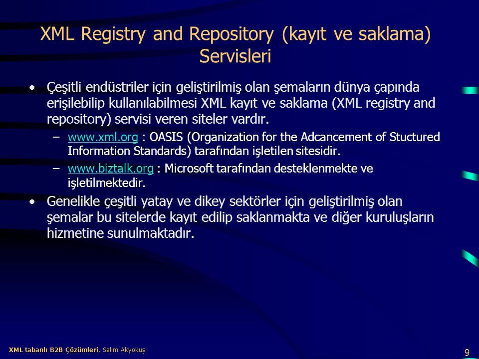 9 XML tabanlı B2B Çözümleri, Selim Akyokuş XML tabanlı B2B Çözümleri, Selim Akyokuş XML Registry and Repository (kayıt ve saklama) Servisleri Çeşitli
