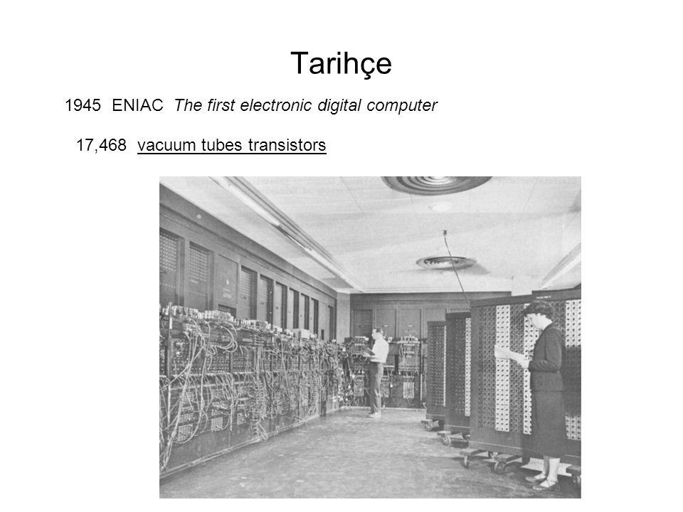 Tarihçe 1945 ENIAC The first electronic digital computer 17,468 vacuum tubes transistors