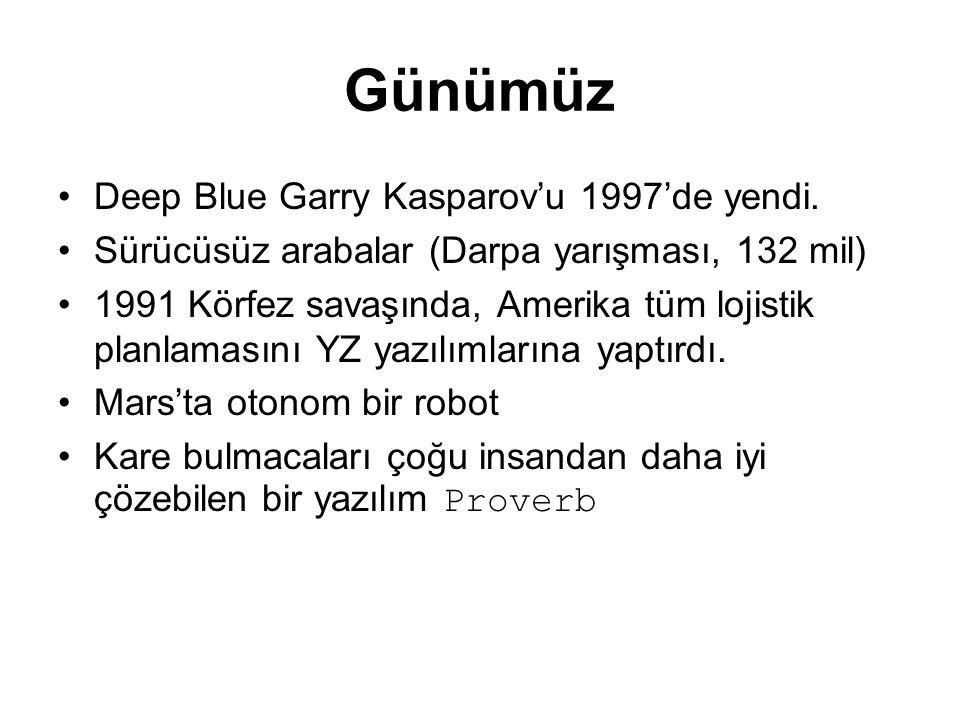 Günümüz Deep Blue Garry Kasparov'u 1997'de yendi. Sürücüsüz arabalar (Darpa yarışması, 132 mil) 1991 Körfez savaşında, Amerika tüm lojistik planlaması