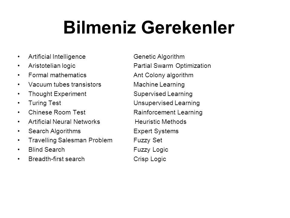 Bilmeniz Gerekenler Artificial Intelligence Genetic Algorithm Aristotelian logicPartial Swarm Optimization Formal mathematicsAnt Colony algorithm Vacu