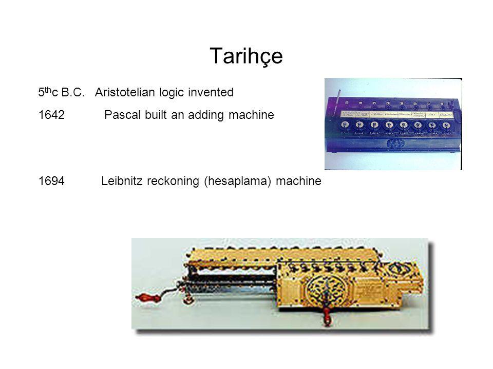 Tarihçe 5 th c B.C. Aristotelian logic invented 1642 Pascal built an adding machine 1694 Leibnitz reckoning (hesaplama) machine
