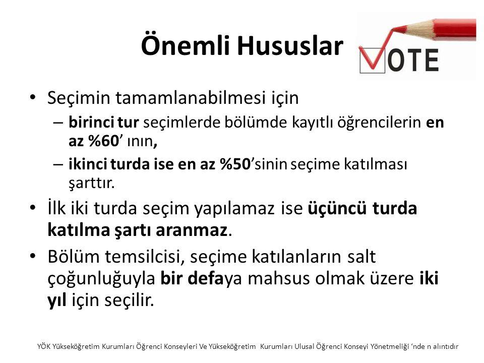 Önemli Hususlar Seçimin tamamlanabilmesi için – birinci tur seçimlerde bölümde kayıtlı öğrencilerin en az %60' ının, – ikinci turda ise en az %50'sinin seçime katılması şarttır.