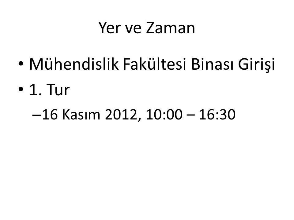 Yer ve Zaman Mühendislik Fakültesi Binası Girişi 1. Tur – 16 Kasım 2012, 10:00 – 16:30