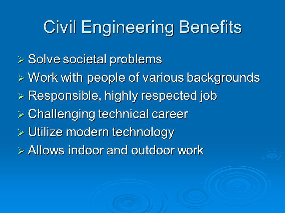 Major Areas of Specialization  Construction  Geotechnical  Structural  Transportation  Water Resources  Environmental