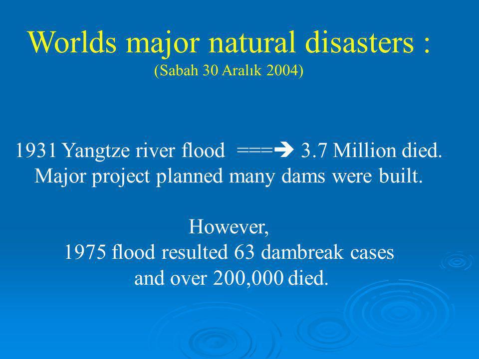 Worlds major natural disasters : (Sabah 30 Aralık 2004) 1931 Yangtze river flood ===  3.7 Million died. Major project planned many dams were built. H