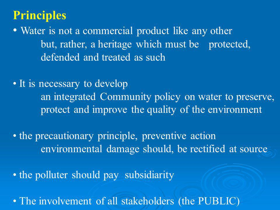 Principles Water is not a commercial product like any other but, rather, a heritage which must be protected, defended and treated as such It is necess
