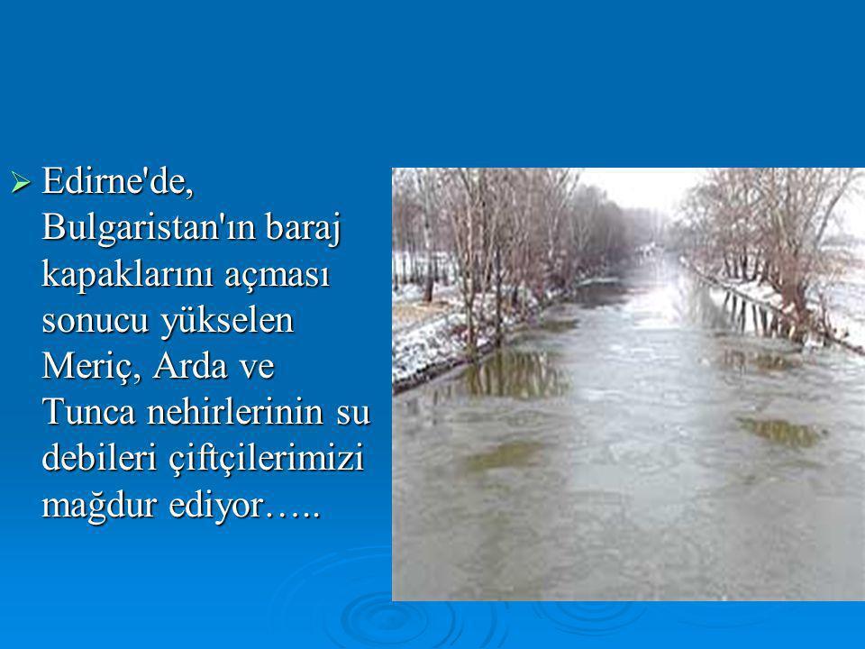  Edirne'de, Bulgaristan'ın baraj kapaklarını açması sonucu yükselen Meriç, Arda ve Tunca nehirlerinin su debileri çiftçilerimizi mağdur ediyor…..