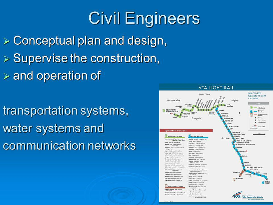 Civil Engineers  Conceptual plan and design,  Supervise the construction,  and operation of transportation systems, water systems and communication