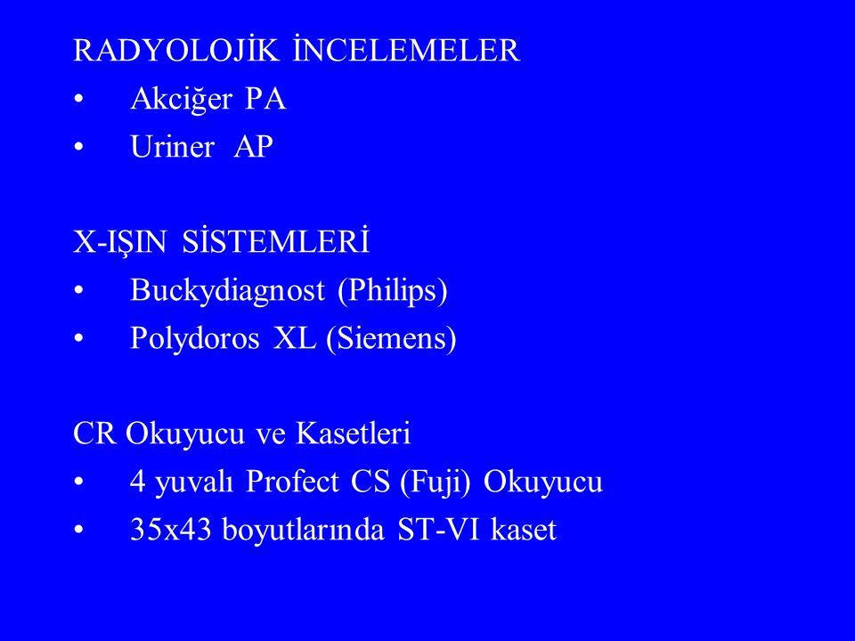RADYOLOJİK İNCELEMELER Akciğer PA Uriner AP X-IŞIN SİSTEMLERİ Buckydiagnost (Philips) Polydoros XL (Siemens) CR Okuyucu ve Kasetleri 4 yuvalı Profect CS (Fuji) Okuyucu 35x43 boyutlarında ST-VI kaset