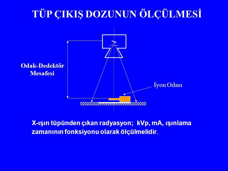 İyon Odası TÜP ÇIKIŞ DOZUNUN ÖLÇÜLMESİ X-ışın tüpünden çıkan radyasyon; kVp, mA, ışınlama zamanının fonksiyonu olarak ölçülmelidir.