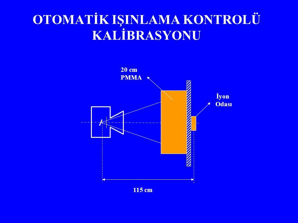 OTOMATİK IŞINLAMA KONTROLÜ KALİBRASYONU 20 cm PMMA 115 cm İyon Odası
