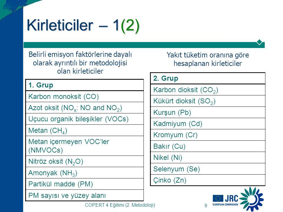 COPERT 4 Eğitimi (2.Metodoloji) 9 Kirleticiler – 1(2) 1.
