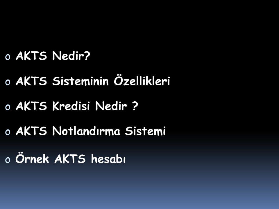 o AKTS Nedir.o AKTS Sisteminin Özellikleri o AKTS Kredisi Nedir .