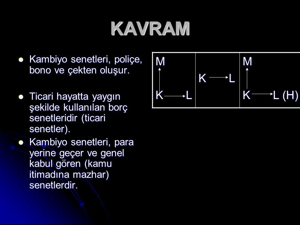 KAVRAM Kambiyo senetleri, poliçe, bono ve çekten oluşur. Kambiyo senetleri, poliçe, bono ve çekten oluşur. Ticari hayatta yaygın şekilde kullanılan bo