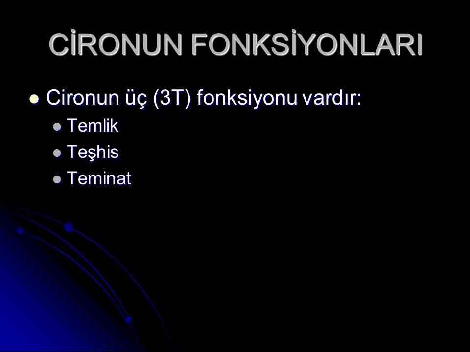 CİRONUN FONKSİYONLARI Cironun üç (3T) fonksiyonu vardır: Cironun üç (3T) fonksiyonu vardır: Temlik Temlik Teşhis Teşhis Teminat Teminat
