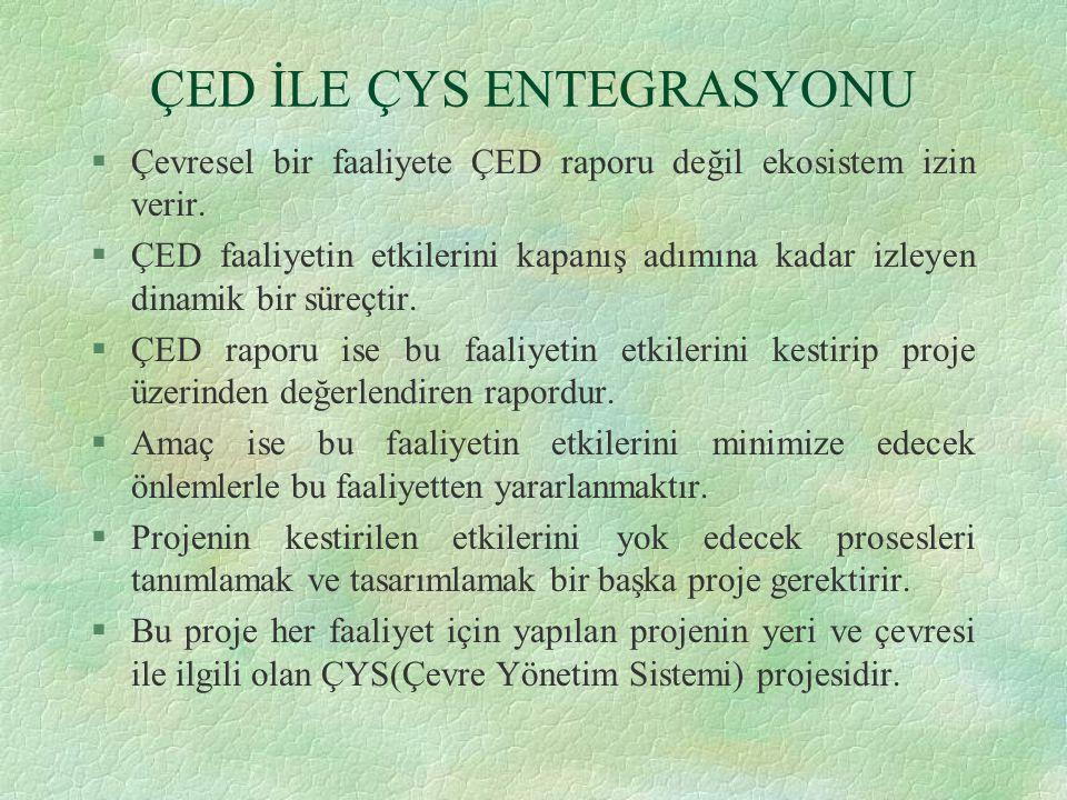 ÇED İLE ÇYS ENTEGRASYONU §Çevresel bir faaliyete ÇED raporu değil ekosistem izin verir.