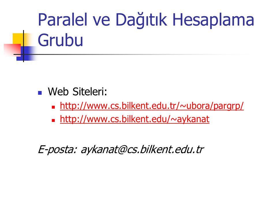 Paralel ve Dağıtık Hesaplama Grubu Web Siteleri: http://www.cs.bilkent.edu.tr/~ubora/pargrp/ http://www.cs.bilkent.edu/~aykanat E-posta: aykanat@cs.bi