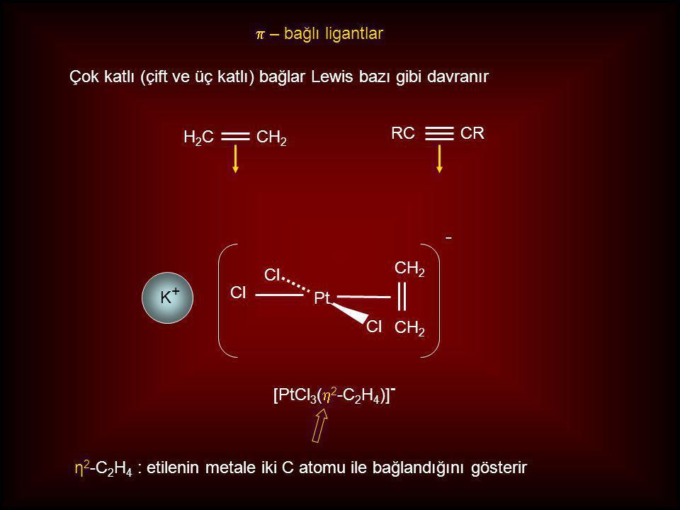  – bağlı ligantlar Çok katlı (çift ve üç katlı) bağlar Lewis bazı gibi davranır CH 2 H2CH2C CR RC CH 2 Pt Cl - [PtCl 3 (  2 -C 2 H 4 )] - η 2 -C 2 H 4 : etilenin metale iki C atomu ile bağlandığını gösterir K+K+