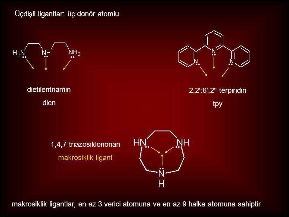 Üçdişli ligantlar: üç donör atomlu 2,2 :6 ,2 -terpiridin tpy dietilentriamin dien 1,4,7-triazosiklononan makrosiklik ligant makrosiklik ligantlar, en az 3 verici atomuna ve en az 9 halka atomuna sahiptir