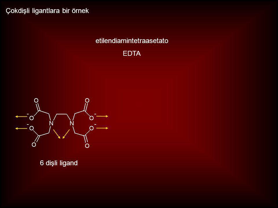 Çokdişli ligantlara bir örnek etilendiamintetraasetato EDTA 6 dişli ligand