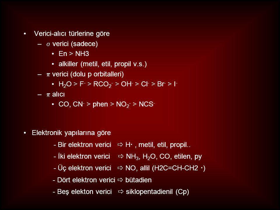 Verici-alıcı türlerine göre –  verici (sadece) En > NH3 alkiller (metil, etil, propil v.s.) –  verici (dolu p orbitalleri) H 2 O > F - > RCO 2 - > OH - > Cl - > Br - > I - –  alıcı CO, CN - > phen > NO 2 - > NCS - Elektronik yapılarına göre - Bir elektron verici  H , metil, etil, propil..