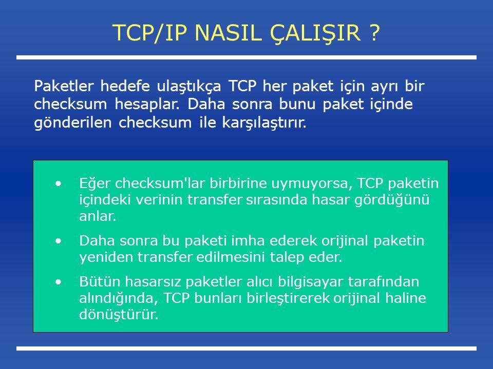 Eğer checksum lar birbirine uymuyorsa, TCP paketin içindeki verinin transfer sırasında hasar gördüğünü anlar.