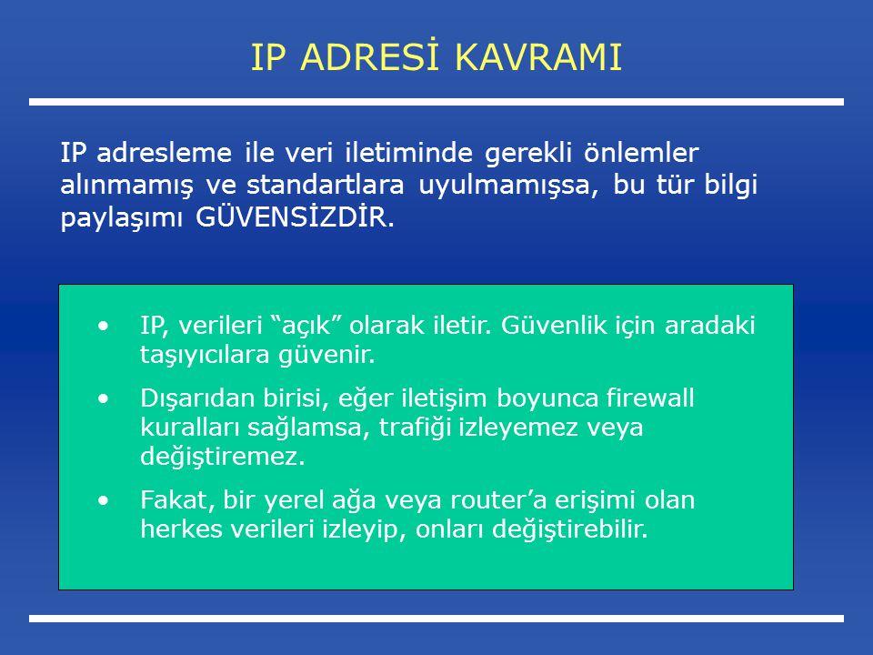IP ADRESİ KAVRAMI IP, verileri açık olarak iletir.