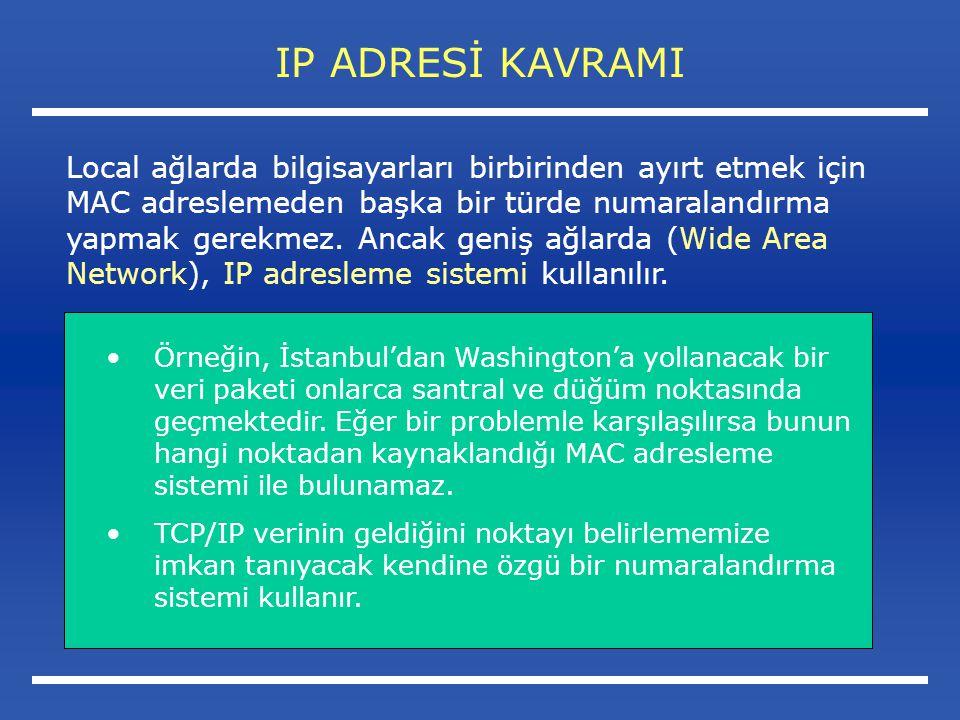 IP ADRESİ KAVRAMI Örneğin, İstanbul'dan Washington'a yollanacak bir veri paketi onlarca santral ve düğüm noktasında geçmektedir.